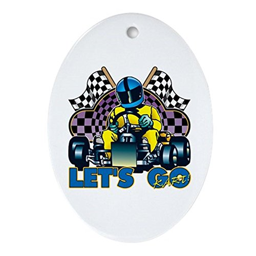 CafePress - Let 's Go Kart. Ornament (Oval) - oval Urlaub Weihnachten Ornament - Race-flaggen-shirt