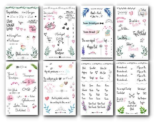 Trust-Shop Sticker für Gästebuch - 176 Hochzeits Sticker/Aufkleber auf 8 Seiten für die perfekte Gästebuch Gestaltung