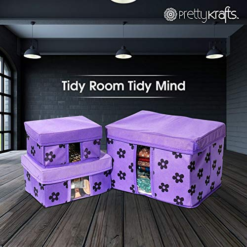 PrettyKrafts Storage Combo Pack of 6, Purple/Organizer/Storage Box/Toys Storage Box/Books Storage Box