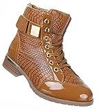 Damen Schuhe Stiefeletten Boots In Lacklederoptik Schwarz Beige 36 37 38 39 40 41