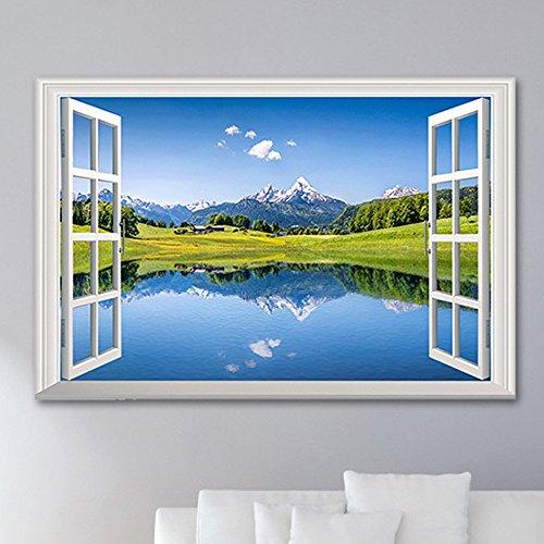 Wandtattoos Wandbilder Prärie Schnee Berg Landschaft gefälschte Fenster Wandaufkleber Wohnzimmer Schlafzimmer 3D Dekoration Aufkleber 48 5 * 72 cm - Schnee Rezepte