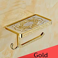 Generic Gold/Rose/Black/Chrome//White/Antique Toilet Paper Holders Mobile Phone Holder With Hook Bathroom Accessories Paper Shelf Yellow
