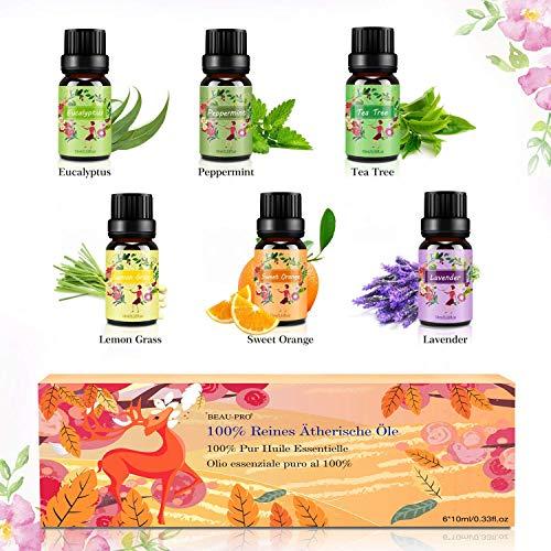 Set de aceites esenciales,100% Natural Puro Aromaterapia Aceite Aromático,6 x 10 ml Lavanda, Hierba...