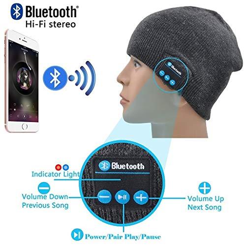 ONX3 Grigio scuro Cuffie senza fili Cappelli Smart Cap Cappello invernale V4.1 Cuffie musicali Auricolari con 2 altoparlanti...