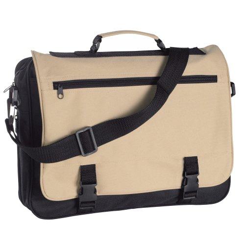eBuyGB® Messenger Bag per scuola, Università & lavoro - riunione tracolla (nero e blu) Nero e Beige