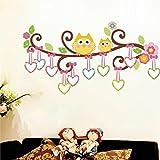 Malilove 2 Eulen Auf Baum Wand Aufkleber Kinderzimmer Dekoration Kinderzimmer Cartoon Home Aufkleber Diy Tiere Wandkunst Peel & Stick Abnehmbar