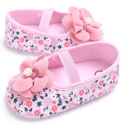 Janly Kleinkind Baby Mädchen Blume gedruckt Krippe Schuhe weichen Sohle rutschfest Sneakers Rosa