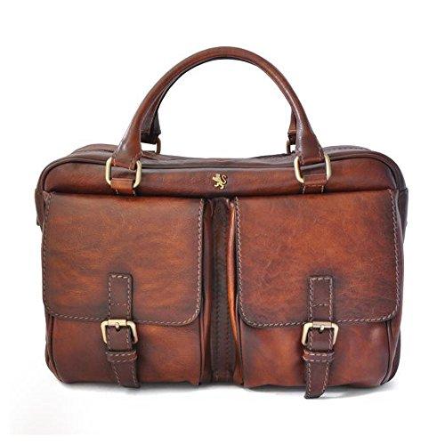 Pratesi Montalcino italienischen Leder Reißverschluss oben Aktentasche Business-Tasche (braun) -