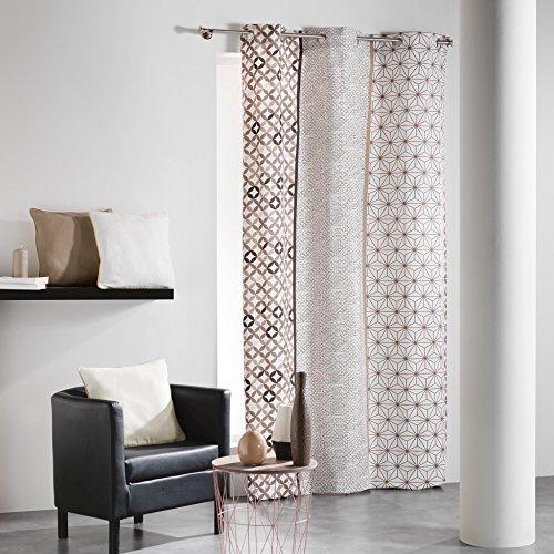 Coton d'interieur cotone da interno, remix, tenda a occhielli, cotone, neutro, 140 x 240 cm