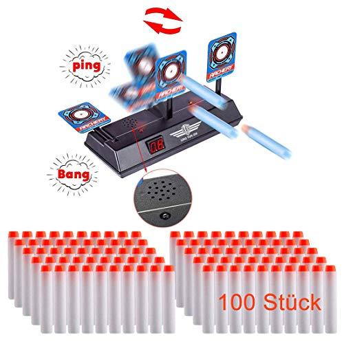 Searchyou - Zielscheibe für Nerf, Ziel Elektrisch und 100 Stück Pfeile Darts Set für Kinder fürNerf N-Strike Elite/Nerf Zombie