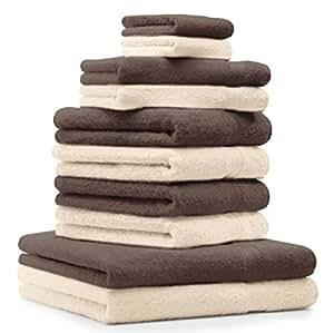 10 tlg. Badetuch Duschtuch Handtücher Set Premium Farbe Braun & Beige 100% Baumwolle 2 Duschtücher 4 Handtücher 2 Gästetücher 2 Waschhandschuhe