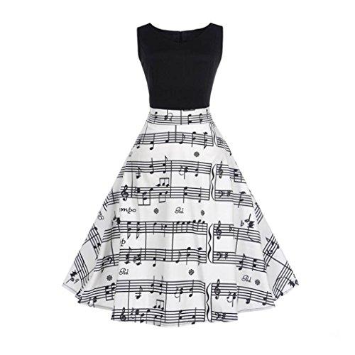 MRULIC Damen Ballkleider Vintage Note Muster ärmelloses Abend Party Prom Swing Kleid Rockabilly...