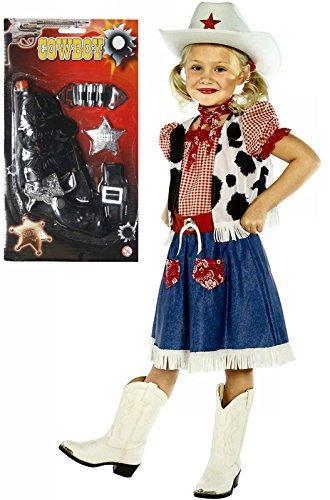 Mädchen Cowboy Cowgirl Kostüm Outfit mit Gun Alter 4–12 (Mädchen Cowgirl Outfit)