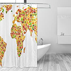 jstel Decor cortina de ducha mundo mapa frutas y verduras patrón impresión 100% poliéster 66x 72pulgadas para hogar baño decorativo ducha baño cortinas con ganchos de plástico