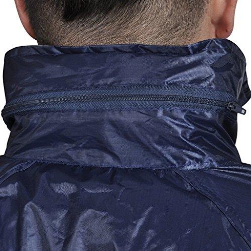 vidaXL Completo Impermeabile Blu Marino con Cappuccio L 2 pz per Uomini Blu M
