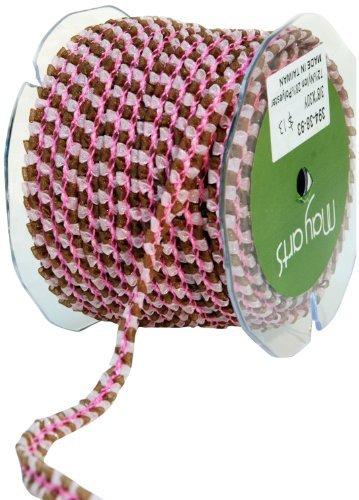 May Arts 3/8-Inch Wide Ribbon, Pink and Brown Sheer Trim by May Arts -