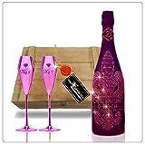D. Rock champán rosado de lujo con más de 1000 Armand blanqueado joyas cristales - incluyendo 2 copas de champán rosado champagne Giftset con copas de champagne exclusivo
