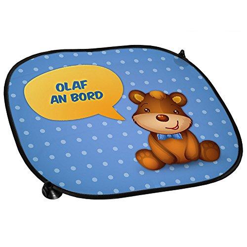 t Namen Olaf und schönem Teddybär-Motiv für Jungs - Auto-Blendschutz - Sonnenblende - Sichtschutz ()