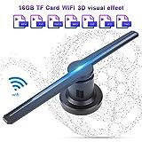 Proiettore Ologramma 3D, ASHATA Proiettore Olografico Proiettore 3D WIFI LED, Display Multifunzione con Display Ologramma LED con Scheda TF 16 GB per Animazione Video e Visualizzazione di Immagi(nero)