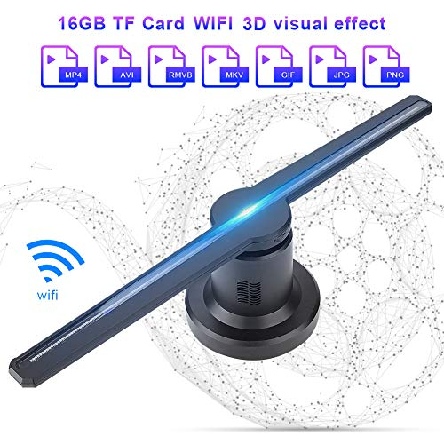 3D Hologramm Projektor,ASHATA LED Holographic Projektor 3D WIFI Ausstellung Projektor,Multi-Funktion LED-Hologramm Werbung Anzeigen mit 16GB TF Karte für Video- Animations- und Bildanzeige(EU-Stecker) -