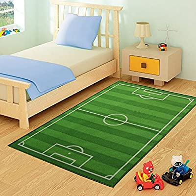 FunkyBuys® Kids Childrens FOOTBALL FIELD Rug Mat Modern Design Play Mat Nursery Rugs Non Slip - 3 Sizes Best Price - cheap UK light store.
