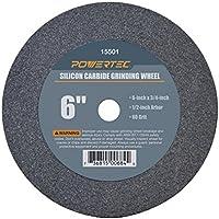 """Powertec 155011/2""""Arbor, grano de carburo de silicio de la rueda de molienda, 6"""" por 3/4"""""""