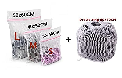 WestHOME Mesh Laundry Bags for Washing Machines with Pink Zips, Net Washing Bag for Delicates, Underwear, Socks, Bras - Set of 4 (Small * 1, Medium * 1, Large * 1, XLarge Drawstring) from JMN-4