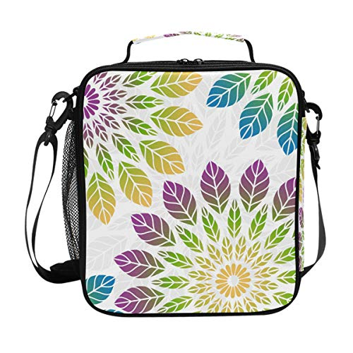 Lunchtasche mit buntem Blumenmuster, isolierte Lunchbox, Kühler, Schultergurt, Mahlzeiten vorbereiten für Frauen, Männer, Jungen, Mädchen, große Tragetasche für Schule, Büro