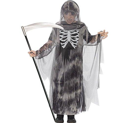 Halloween Kinder Kostüm Skelett Dämon Sensenmann Gr.10 bis 12 Jahre