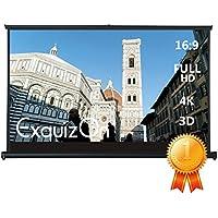 "ExquizOn - 50"" Mini Pantalla de Proyección Retráctil Manual de Mesa para Relación de Aspecto 16: 9 (Pantalla para Proyector, Adecuado para Cine en Casa Presentaciones)"