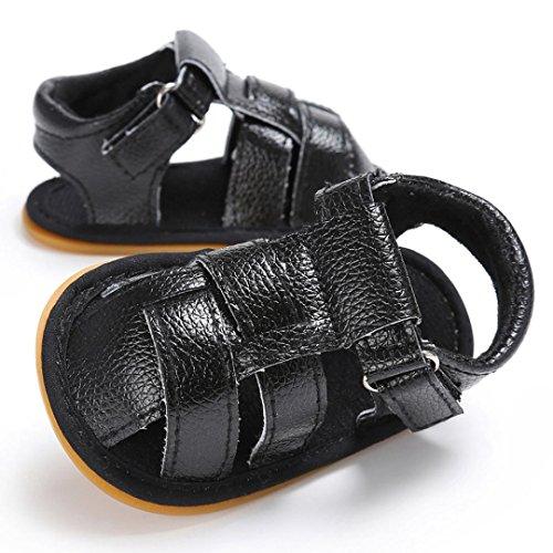 OverDose Baby Kleinkind Jungen Niedliche Krippe Schuhe Anti-Rutsch Prewalker Soft Sohle Schuhe Sandalen (0-18Monate) Schwarz