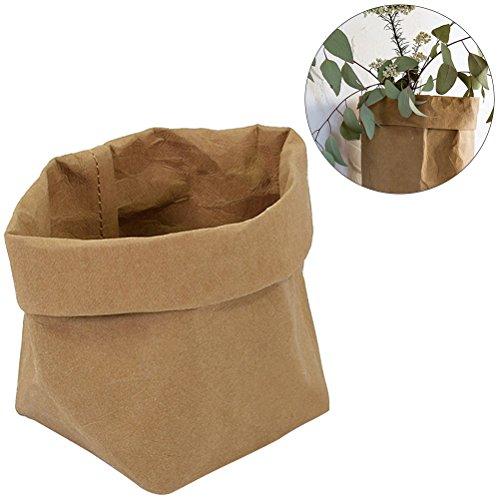 OUNONA Kraftpapier Taschen waschbar Papier Container Graden dekorative Pflanze Taschen Veranstalter Blumentopf Decken, Parteien, Geschenke Taschen, Shopping Größe S (Hellbraun)