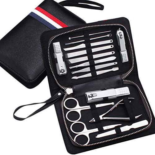 Yardwe 15PCS Kohlenstoffstahl Maniküre Pediküre Set Nagelpflege Clipper Kit (Italien)