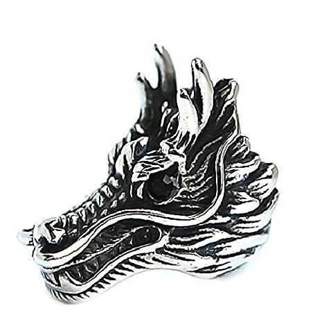 KnSam Bague Homme Anneau Punk Acier Inoxydable Dragon Bagues Chevaliere Noir Argent Taille 61.5 [Novelty Ring]