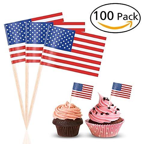 Tinksky US drapeau Picks américain drapeau alimentaire cure-dents partie accessoire cotillons, paquet de