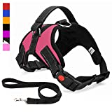 Musonic No Pull Dog Harness, Breathable Adjustable Comfort, Free Lead Included, for Small Medium Large Dog, Best for Training Walking (X-Large, Pink)