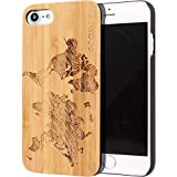 iPhone 7 and 8 Case Wood | Real Natural Bamboo Wooden Backplate With Unique World Map Design and Shock Absorbing Polycarbonate Protective Bumper GOWOOD