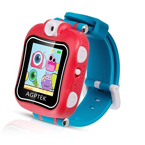 """Kinder Smart Armbanduhr 128MB Speicher, 1,5\"""" Touchscreen mit 90 Grad drehbare Kamera, Video, Aufnahme, Spiele, Stoppuhr, Wecker, von AGPTEK, Rot"""