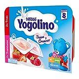 Nestlé Yogolino Postre lácteo Suave y Cremoso, 24 tarrinas de Fresa y 24 tarrinas Frambuesa - Para bebés a partir de 8 Meses, Paquete de 8 x 6 Tarrinas de 60g
