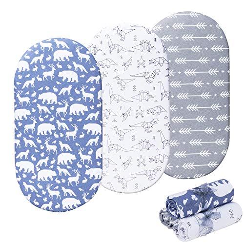 Momcozy Coprimaterasso lettino lenzuola universali per culla 75x33cm/80x46cm, lenzuolino per carrozzina, set di 3 per bambino & bambina, elastico e adattabile a Alvi,Julius Zöllner,Träumeland,FabiMax
