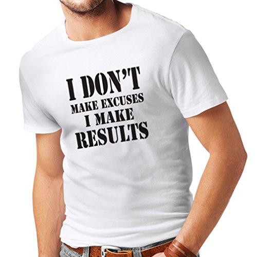 lepni.me Männer T-Shirt I make results - Gewicht verlieren schnelle Zitate und Muskelaufbau Motivationsrede (Large Weiß Schwarz) Sim Redmond Band