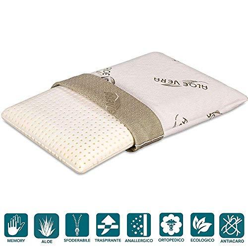 Evergreenweb - cuscino letto in memory foam 40x70 basso 9 cm fodera con oli essenziali aloe vera rivestimento sfoderabile e lavabile tessuto morbido traspirante, guanciale per dolori cervicali offerta