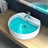 Lavabo da appoggio sospeso o da incasso bagno ceramica 48x42,5x14,5 bianco design moderno I