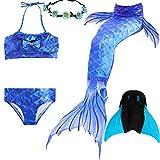 UniDesign Meerjungfrau Flosse Zum Schwimmen Meerjungfrau Schwanz mit Flosse mit Bikini für Kinder Mädchen, 9-10 Jahre, blau