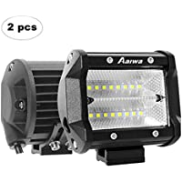 Zusatzscheinwerfer Aaiwa 2x48W IP68 Auto Arbeitsscheinwerfer Offroad Flutlicht Offroad Scheinwerfer Arbeitslicht Light Bar 4 Inch 5800LM für Boot LKW SUV ATV, 2 Jahre Garantie (2 Stücke)