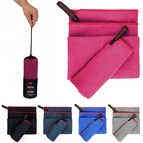MAVE ATHLETIC Premium Mikrofaser Handtücher im 2er-Pack mit Tragetasche [140cm x 70cm & 70cm x 40cm] (Himbeere)