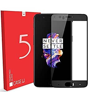 Case U Full Coverage Tempered Glass Screen Protector For OnePlus 5 (Black Rim)
