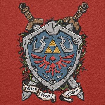 NERDO - Power Courage Wisdom Shield - Herren T-Shirt Rot