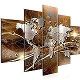 Bilder Weltkarte World Map Wandbild 150 x 100 cm Vlies - Leinwand Bild XXL Format Wandbilder Wohnzimmer Wohnung Deko Kunstdrucke Braun 5 Teilig - MADE IN GERMANY - Fertig zum Aufhängen 106853b