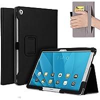 """M5 10 Funda,M5 Pro Funda,ISIN Folio Funda Case Cover Carcasa con Stand Función para Huawei Mediapad M5 10 CMR-AL09 CMR-W09/M5 Pro CMR-AL19 CMR-W19 10.8"""" Android Tablet con Correa para la Mano,Soporte para lápiz táctil y Ranuras para Tarjetas (Negro)"""